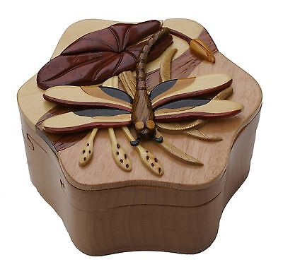 Dragon Fly Intarsia Puzzle Box