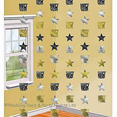 6 x 7ft Happy New Year Hanging String Party Decorations Black Gold Silver Star