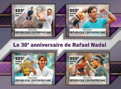 Central Africa - 2016 Rafael Nadal - 4 Stamp Sheet - CA16505a