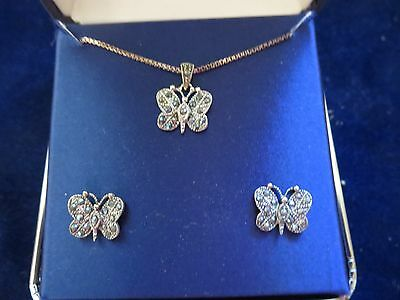 sterling silver & marcasite butterfly pendant necklace & post earrings NEW NIB