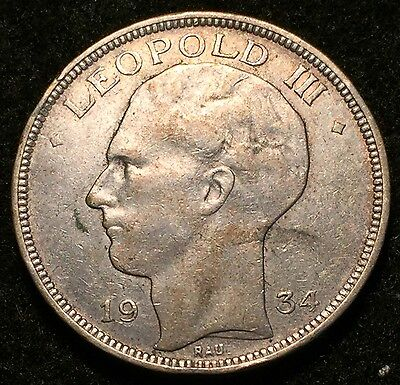 1934 Silver Belgium 20 Francs Leopold II Coin