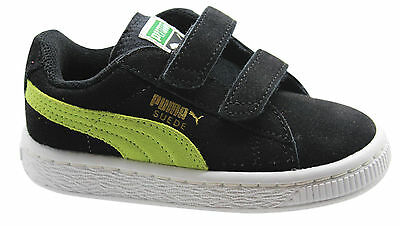 Puma Suede 2 Straps Kids Trainers Shoes Black Green Leather 356274 27 D23