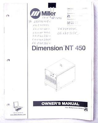 Miller Dimension NT 450 Owners Manual OM-2252 2005 Welding FREE SHIPPING