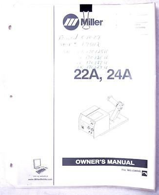 Miller 22A & 24A  Owners Manual OM-193 472Q Welding FREE SHIPPING