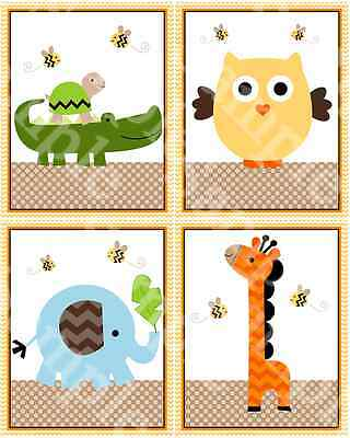 "A set of 4 ""Jungle Stack Animals Chevron "" 8x10 Nursery Art Prints"
