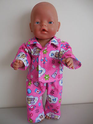 "Baby Born 17"" Dolls Clothes Pink Pyjama's With Teddy Bears"