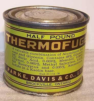 "Early Canadian Antiphlogistic ""thermofuge"" Paste Full In Tin Menthol Thymol Etc"