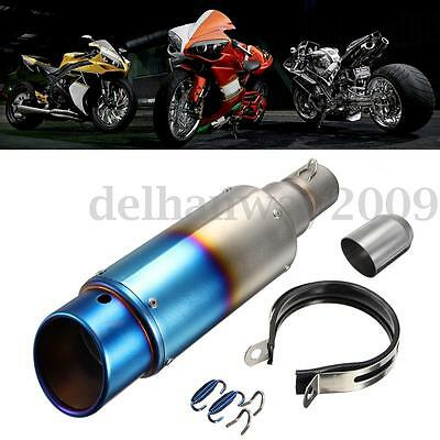 38-51mm Universal Motorcycle Exhaust Muffler Movable Silencer Pipe Grilled Blue