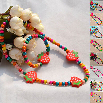 Colorful Cartoon Wooden Beads Children Jewellery Party Necklace & Bracelet Sets