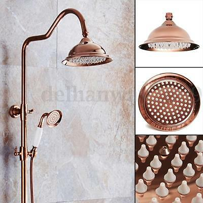 "Retro Red Copper Rose Gold Round Top Spray Bathroom Rain Shower Head 8"" inch New"