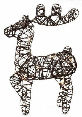 Light Up LED Woven Rattan Deer Stag Christmas Decoration Figurine