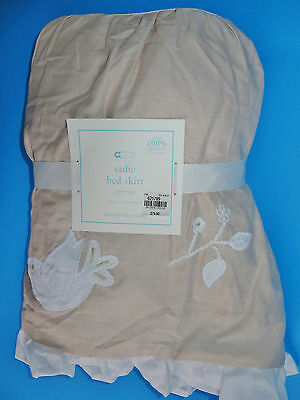 Pottery Barn Kids Sadie Ruffle Organic Crib Skirt Baby Song Birds Neutral New
