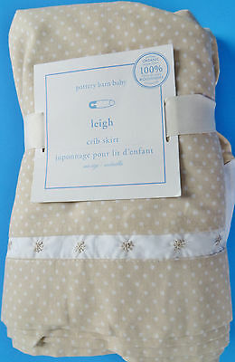Pottery Barn Kids Leigh Organic Crib Skirt Polka Dot Embroidered Neutral New