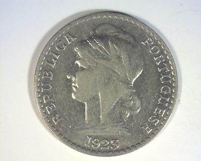 ANGOLA 1923 FIFTY CENTAVOS obv light scratches KM65  ABOUT UNCIRCULATED  ~ M133