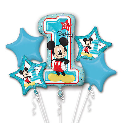 5 Piece Disney's Blue Baby Mickey Mouse 1st Birthday Party Foil Balloon Bouquet