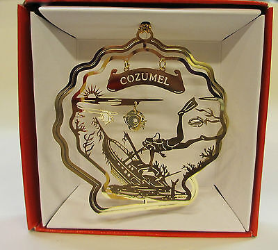Cozumel Mexico Brass Ornament Seashell Diver Vacation Travel Souvenir Gift