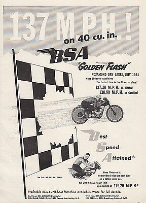 1951 BSA Motorcycle Ad: Golden Flash Fastest Time Rosamond Dry Lakes July 1951
