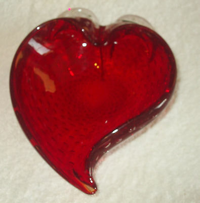 Strawberry Shape Bullicante Red Glass Candy Dish w/ bubbles Blown Glass