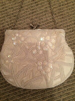 1920s Charleston Flapper vintage Gatsby Party cream white bead hand bag purse