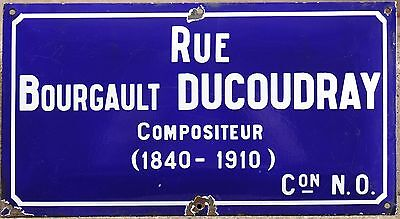 French enamel steel street sign road plaque musician Bourgault-Ducoudray Rennes