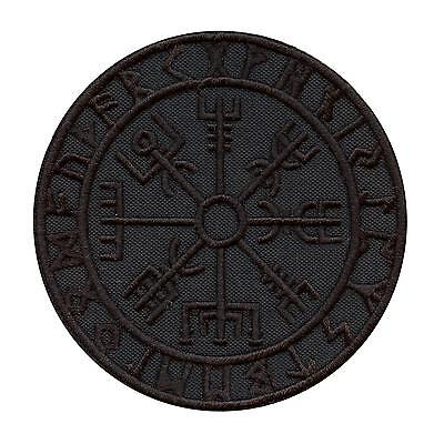 all black vegvisir viking compass embroidered morale tactical hook&loop patch