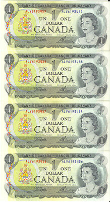 Bank of Canada 1973 $1 One Dollar Lot of 4 Consecutive Notes ALV Prefix UNC
