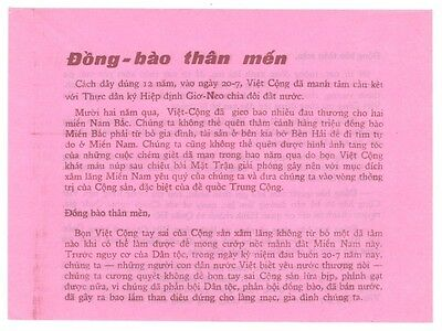 Vietnam Era Propaganda Leaflet #287 - Your Country is Divided (pink)