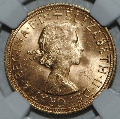 1958 Great Britain Gold Sovereign Elizabeth NGC MS63 Uncirculated BU Coin UK SOV