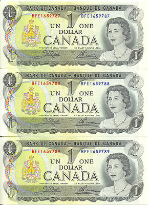 Bank of Canada 1973 $1 One Dollar Lot of 3 Consecutive Notes BFE Prefix UNC
