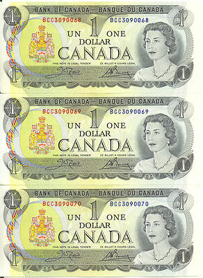 Bank of Canada 1973 $1 One Dollar Lot of 3 Consecutive Notes BCC Prefix UNC