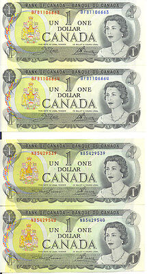 Bank of Canada 1973 $1 One Dollar Lot of 2 Consecutive Pairs UNC