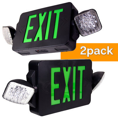 |2-Pack|Twin LED Exit & Emergency Light Green Black Sign Compact Combo Lighting