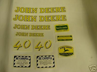 John Deere Model 40 Tractor Decal Set - NEW  FREE SHIPPING