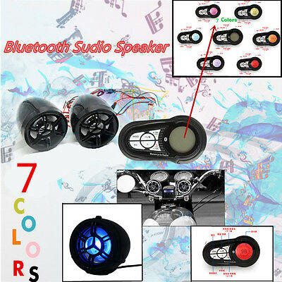 7 Colors Motorcycle Audio Radio FM System Stereo Speaker USB SD MP3 Bluetooth