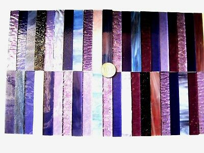 40 Mixed Purple Mosaic Tile Strips 100mm x 15mm Stianed Glass NEW Size
