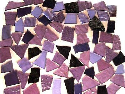 100g Mixed Purple Mosaic Tile Pieces Stained Glass Arts & Crafts