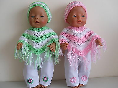 "Baby Born 17"" Dolls Clothes Pink Or Green Poncho Outfit"