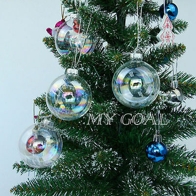 12X Clear Iridescent Glass Bauble Ball Christmas Wedding Gift Xmas Tree Ornament