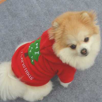 Pet Dog Cat Puppy Sweater Hoodie Coat Small Warm Christmas Costume Apparel New