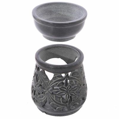 New 2 Pce Boxed Soapstone Oil Burner Silver Grey Floral Etched Design Puck Sob15