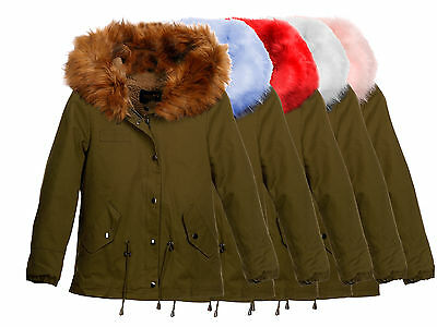 Nk2749 Osley Kinder Mädchen Mantel Parka Winter Warme Jacke Teddy Fell Kapuze