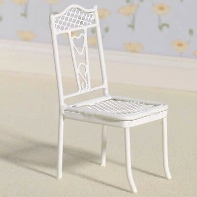 Dolls House Furniture: Pretty Hearts White Chair : in 12th scale