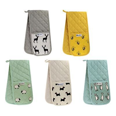 Animal Printed Double Oven Gloves Heavy Duty Heat Resistant 100% Cotton