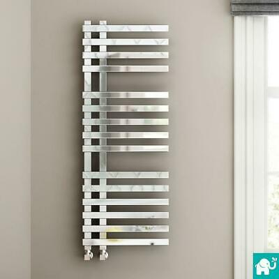 Designer Chrome Square Towel Rail Radiator Heated Bathroom Warmer Rad 1200x450mm