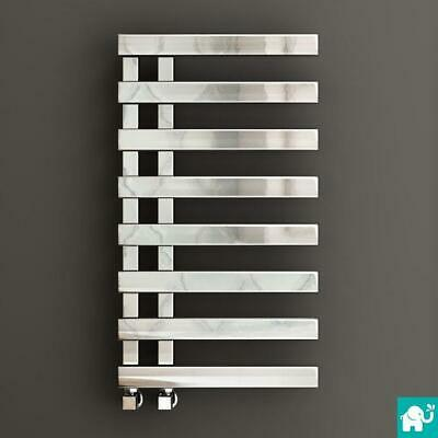 Designer Chrome Flat Panel Towel Rail Radiator Heated Bathroom Warmer 800x450mm