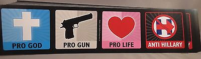 Wholesale Lot Of 20 Pro God Guns Life Trump Anti Hillary Clinton Bumper Stickers