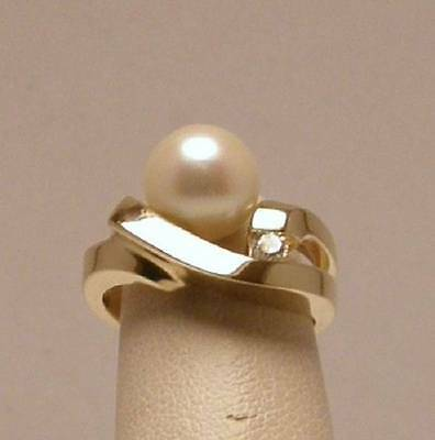 Cultured Pearl and Diamond Art Deco Ring Set in 14K Yellow Gold