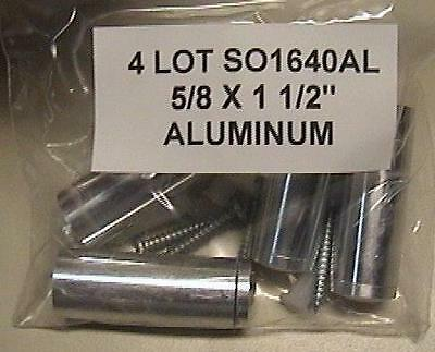 "4 LOT SO1640AL 5/8 x 1 1/2"" Through Grip Standoffs, Round, Aluminum - Silver BAG"