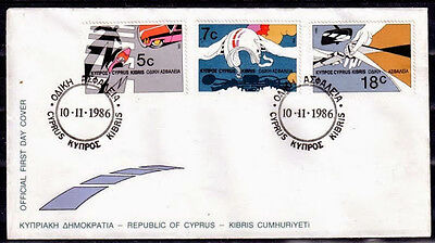 Chypre Grec Fdc 03 - Securite Routiere - 10-11-1986