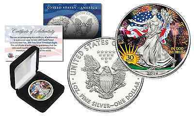 2016 1 oz Silver 30th American Eagle $1 Coin .999 Fine BU Colored with BOX & COA